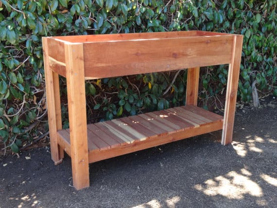 elevated redwood planter