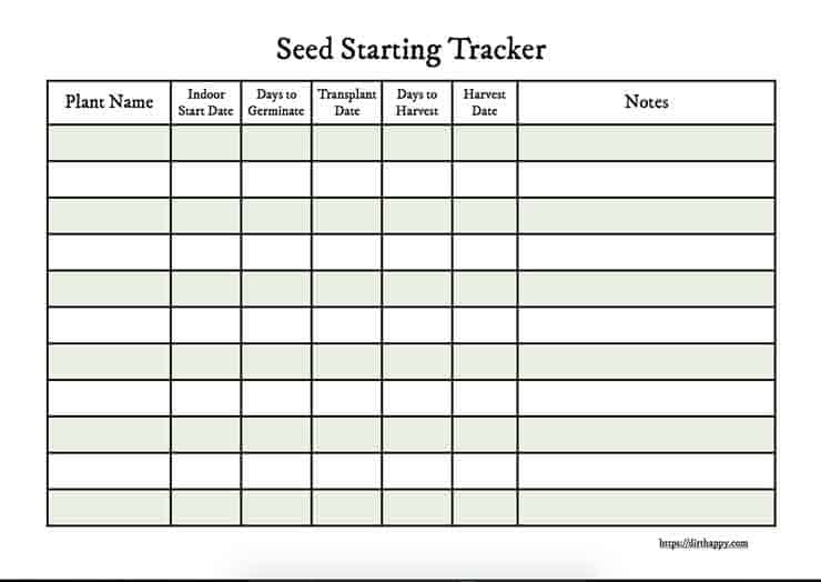 seedling planner page