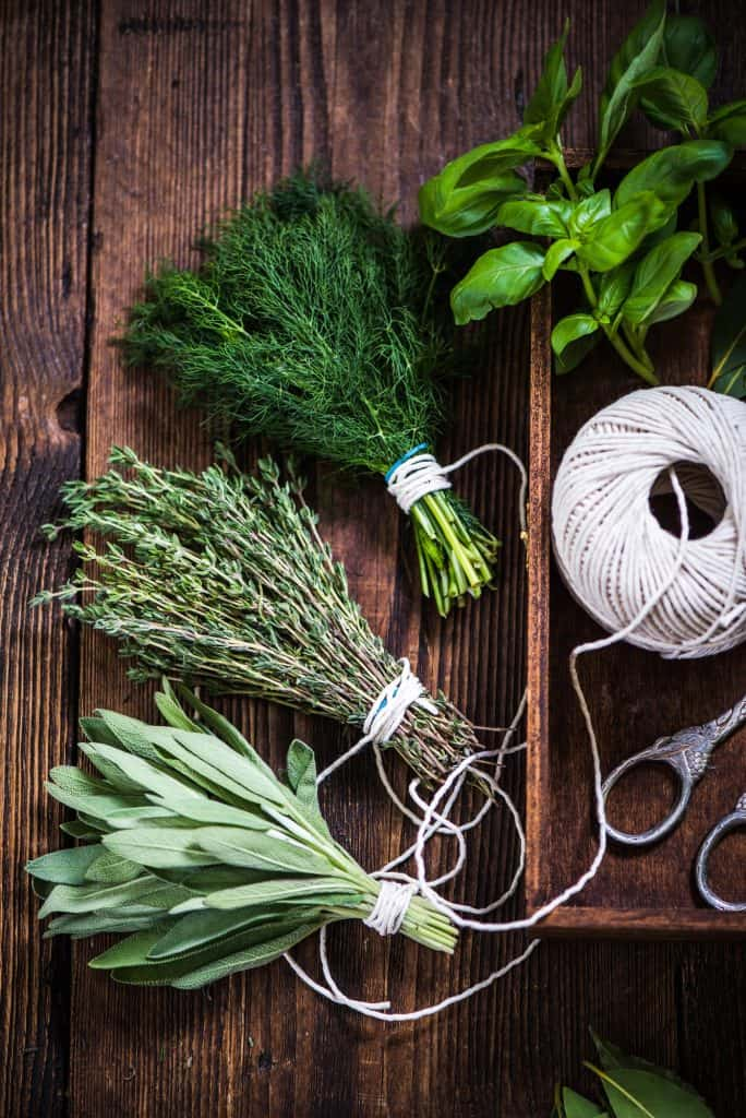 Preparation of herbs for drying